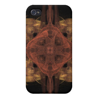 Gold Gingham with Red Medallion Fractal Art iPhone 4/4S Cover