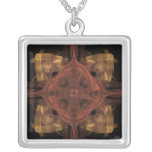 Gold Gingham with Red Medallion Fractal Art Jewelry