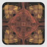 Gold Gingham with Red Medallion Fractal Art Square Sticker