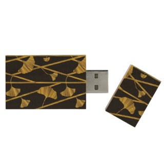 gold ginkgo wood USB flash drive