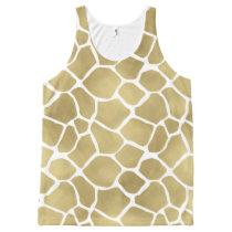 Gold Giraffe Print All-Over-Print Tank Top