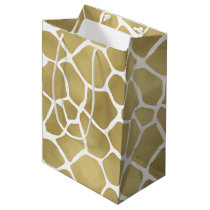 Gold Giraffe Print Medium Gift Bag