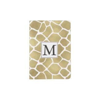 Gold Giraffe Print Monogram Passport Holder