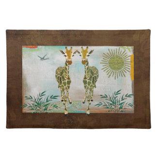 Gold Giraffe Safari Placemat Cloth Place Mat