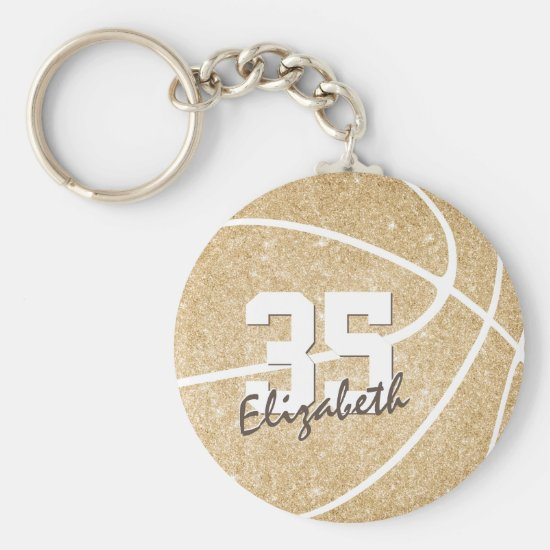 gold girly basketball keychain w jersey number
