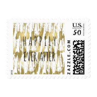 Gold Glam Abstract Wedding Postage
