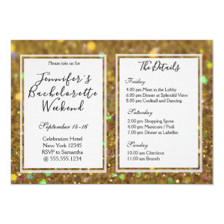 Gold Glam Bachelorette Weekend Party Invitation