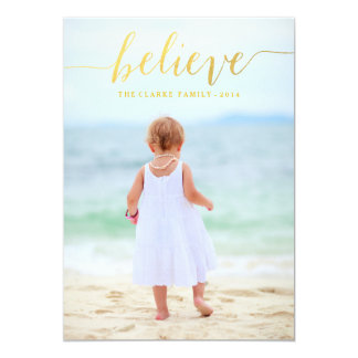 Gold Glam Believe Holiday Photo Card Custom Invites