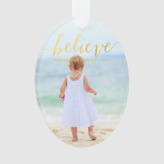 Gold Glam Believe Holiday Photo Ornament