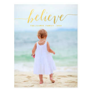 Gold Glam Believe Holiday Photo Postcard