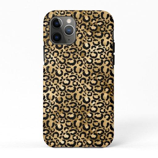 Gold Glam Black Leopard Print iPhone 11 Pro Case