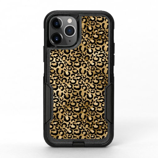 Gold Glam Black Leopard Print OtterBox Commuter iPhone 11 Pro Case