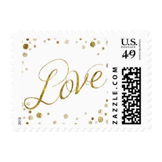 Gold Glam Bokeh Confetti Dots Love Postage