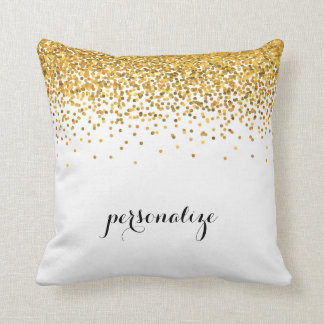 Gold Glam Confetti Dots Throw Pillow