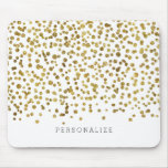 Gold Glam Confetti Mouse Pad<br><div class='desc'>gold glam bling confetti you can personalize with your text</div>