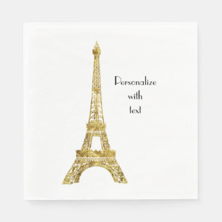 Gold Glam Eiffel Tower Paper Napkin