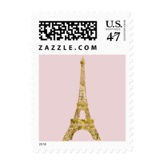 Gold Glam Eiffel Tower Postage