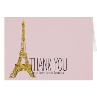 Gold Glam Eiffel Tower Thank you Card