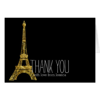 Gold Glam Eiffel Tower Thank you Card