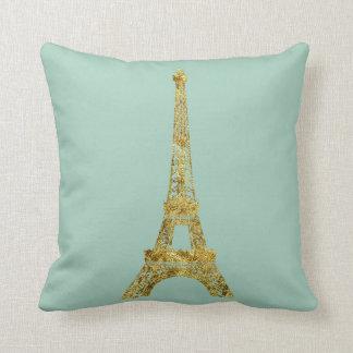 Gold Glam Eiffel Tower Throw Pillow