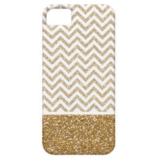 Gold Glam Faux Glitter Chevron iPhone 5 Case