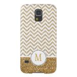 Gold Glam Faux Glitter Chevron Galaxy S5 Covers