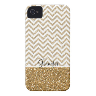 Gold Glam Faux Glitter Chevron iPhone 4 Case