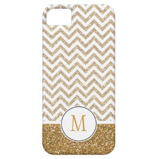 Gold Glam Faux Glitter Chevron iPhone SE/5/5s Case