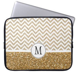 Gold Glam Faux Glitter Chevron Laptop Computer Sleeves