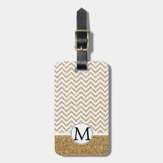 Gold Glam Faux Glitter Chevron Tag For Luggage