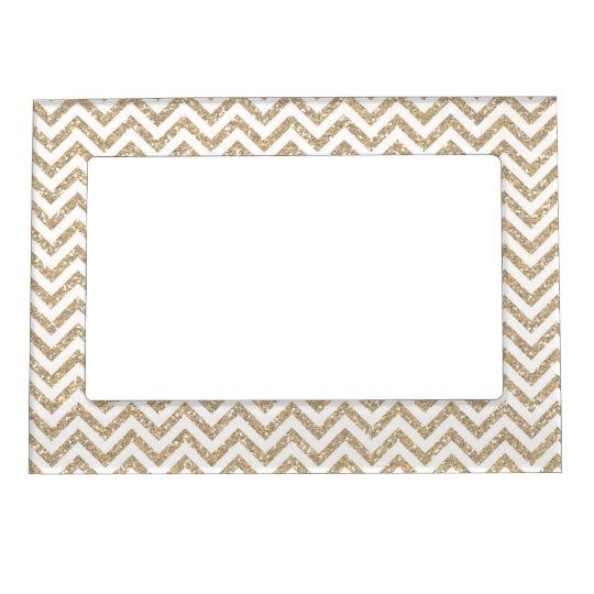 Gold Glam Faux Glitter Chevron Magnetic Frame