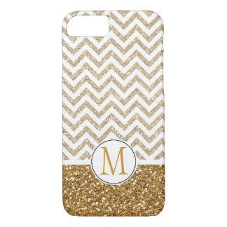 Gold Glam Faux Glitter Chevron Monogram iPhone 7 Case