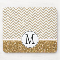 Gold Glam Faux Glitter Chevron Mouse Pad