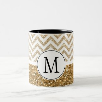 Gold Glam Faux Glitter Chevron Mug
