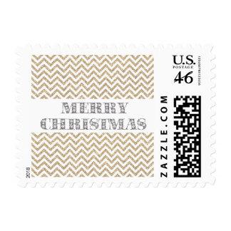 Gold Glam Faux Glitter Chevron Postage Stamp