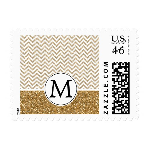 Gold Glam Faux Glitter Chevron Stamps