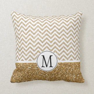 Gold Glam Faux Glitter Chevron Throw Pillow