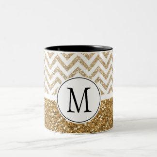 Gold Glam Faux Glitter Chevron Two-Tone Coffee Mug