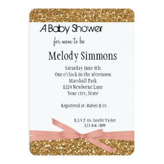 Gold Glam Faux Glitter 5x7 Paper Invitation Card