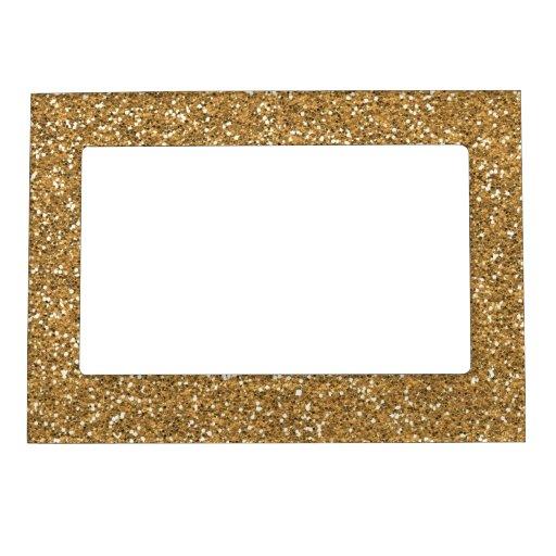 Gold Glam Faux Glitter Magnetic Photo Frame Zazzle