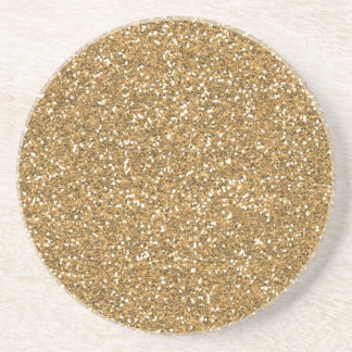 Gold Glam Faux Glitter Sandstone Coaster