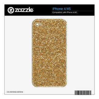 Gold Glam Faux Glitter Skins For iPhone 4S