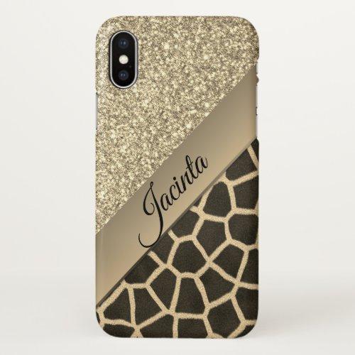Gold Glam Giraffe Print Phone Case