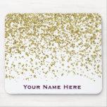 Gold Glam Glitter Confetti Personalized Mousepad