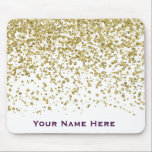 "Gold Glam Glitter Confetti Personalized Mousepad<br><div class=""desc"">Pretty Faux Fold Glam Confetti Personalize Mousepad With Your Name In Purple.  Super Easy To Insert Your Name.  Click &quot;Customize&quot; To Change The Font Or Color Of The Text.</div>"