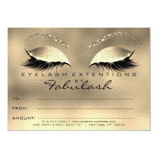Gold Glam Lashes Extension Makeup Certificate Gift Card
