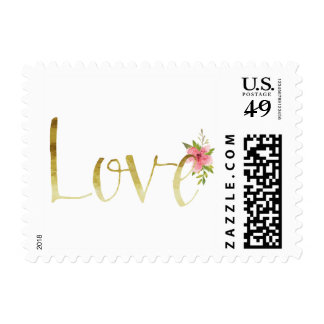 Gold Glam Love with Pink Watercolor Flower Postage