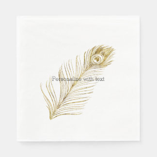 Gold Glam Peacock Feather Napkin