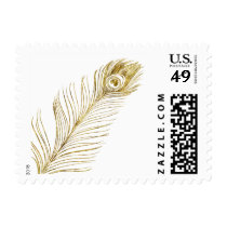 Gold Glam Peacock Feather Postage