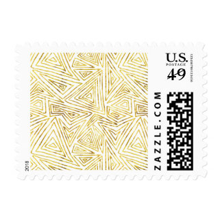 Gold Glam Triangles Abstract Geometric Postage